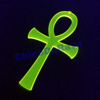 Colar Ankh 6cm amarelo fluorescente