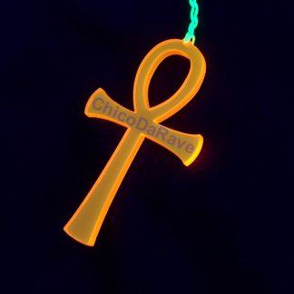 Colar Ankh 6cm laranja fluorescente