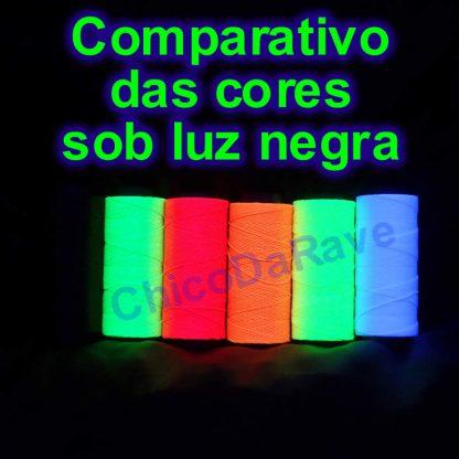 Comparativo das cores sob luz negra