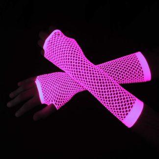 Luva arrastão longa rosa bebê fluorescente
