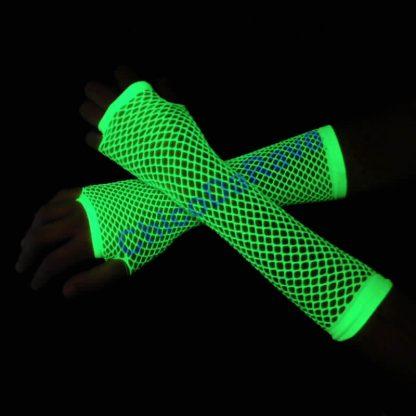 Luva arrastão longa verde fluorescente