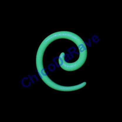 Alargador espiral verde fluorescente 3mm