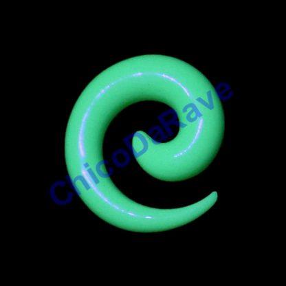 Alargador espiral verde fluorescente 8mm