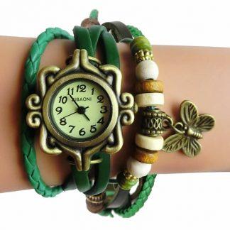 Relógio de couro verde vintage