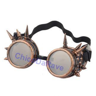 Goggles Steampunk cobre com spikes