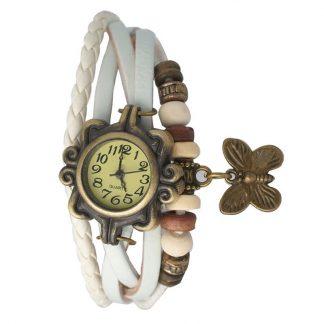 Relógio de couro branco vintage borboleta