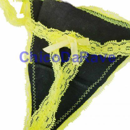 Calcinha caveira amarelo fluorescente