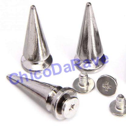 Spike 26x10mm cone prata metal (parafuso)
