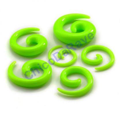 Alargador espiral verde fluorescente