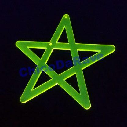 Colar pentagrama 8cm amarelo fluorescente