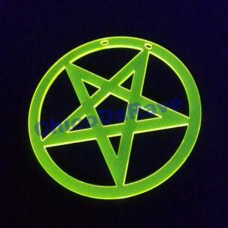 Colar pentagrama circunscrito 8cm amarelo fluorescente