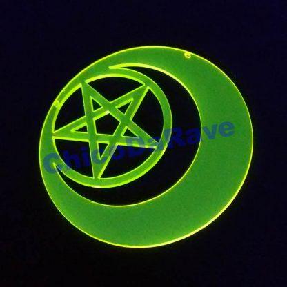 Colar Wicca pentagrama e lua 8cm amarelo fluorescente
